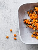 Fresh seabuckthorn berries in a bowl