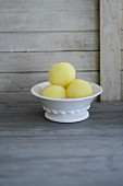 Potato dumplings in a porcelain dish
