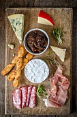 Cheese and Meat Platter with Onion Chutney