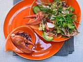 Lobster and papaya salad with avocado