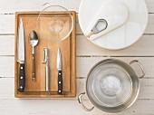 Kitchen utensils for making a salad
