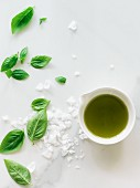 Basil oil and salt flakes