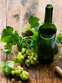 Grape vines with wine bottle