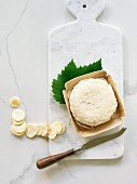 Three Milk Cheese with grape leaf and cheese knife