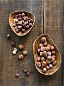 Hazelnuts shelled and unshelled on wood