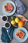 Galettes with oranges and blood oranges