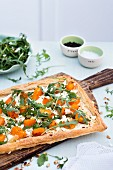 Quiche with Butternut Squash, Feta and Pesto