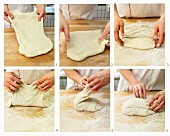 Dough being stretched and folded
