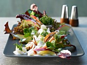 Mixed salad with apple, cucumber and chicken breast with a horseradish dressing