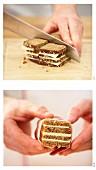Petit-Fours vom Brot mit Speck zubereiten