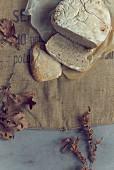 Sliced bread on a jute sack
