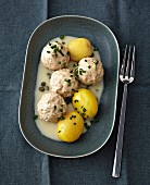 'Königsberger Klopse', meatballs in a white sauce with capers, served with boiled potatoes