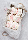 A box of Candy Cane Peppermint Meringue Sandwiches