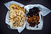 Peach, apple, pear and banana chips, dried plums, mirabelles and grapes
