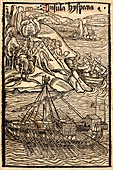 Columbus discovering Hispaniola, woodcut, 1494