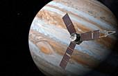 Juno spacecraft at Jupiter, illustration