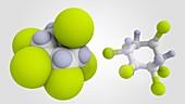 Lindane, molecular models