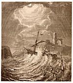 Storm at sea off the Cornish coast