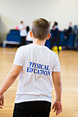 Boy in school PE kit