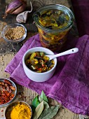 Aubergine and pineapple chutney