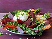 Burrata with chard, beetroot and garlic