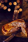 a festive torte filled with foie gras