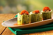 Courgette stuffed with minced meat and tomato sauce
