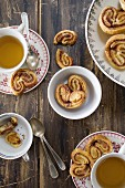 Palmiers with cinnamon and muscovado, served with tea