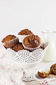 Spelt muffins in a vintage bowl