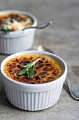 Creme brulee with rosemary
