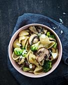 Muschelnudeln mit Champignons, Brokkoli und Parmesan