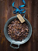Muesli with chocolate, kakaonibs, oatmeal, cold-pressed coconut oil and spices to give away