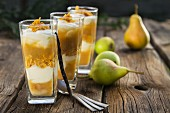 Pear desserts with vanilla yoghurt