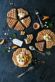 Gluten-free waffles with pistachios and fruits