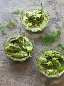 Padrón peppers marinated with herbs (Spain)