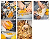 Crunchy muesli with orange and dried apricot being made
