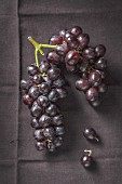 Bunch on black grapes on black cloth