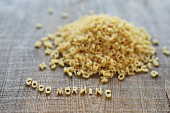 'Good morning' spelled out in pasta letters