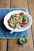 Courgette and mince with cherry tomatoes
