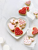 Valentine's heart shaped cookies on heart shaped plate