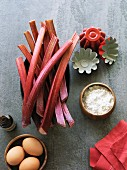 Rhubarb and cake ingredients