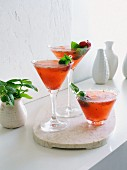 Strawberry basil margarita cocktails