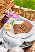 Salted caramel and popcorn slices for a picnic