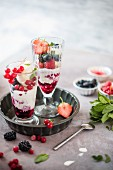 Hausgemachtes Vanilleeis mit roter Beerensauce und frischen Beeren