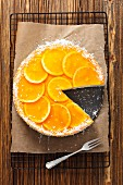 Yogurt geletine cake with oranges