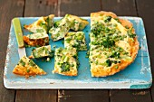 Frittata with broccoli and green peas