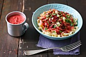 Tagliatelle with beetroot pesto with cilantro
