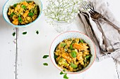 Butternut Squash and split red lentil curry