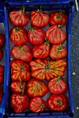 Beefsteak tomatoes in a tray