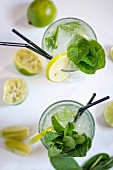Lemonade with lime and fresh mint